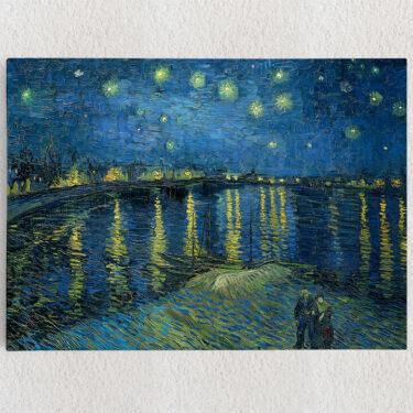 Personalisiertes Leinwandbild Sternennacht über der Rhone