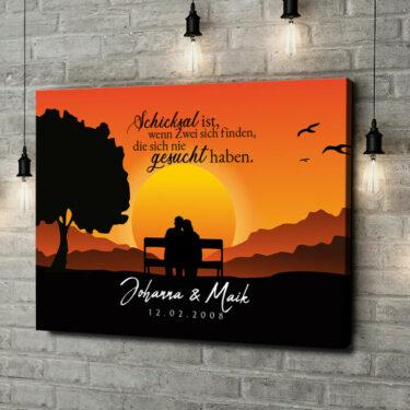 Leinwandbild personalisiert Sunset Bench