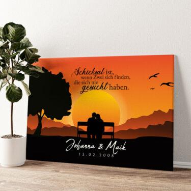 Sunset Bench Wandbild personalisiert