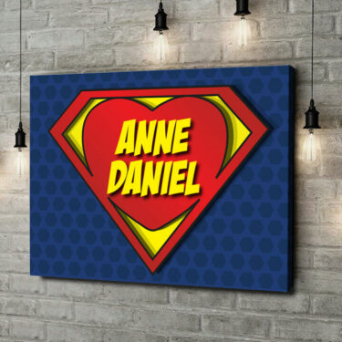 Leinwandbild personalisiert Super Love