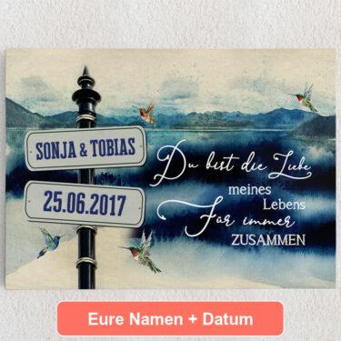 Personalisiertes Leinwandbild Tag am See