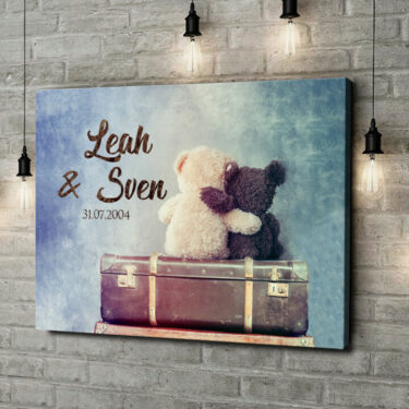 Leinwandbild personalisiert Teddybears