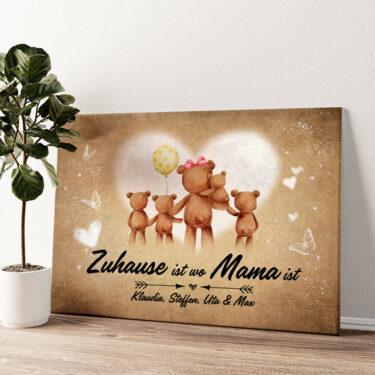 Teddymama Wandbild personalisiert