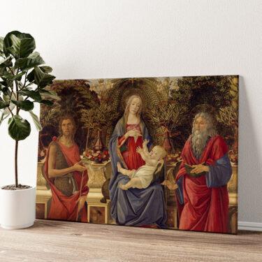 Thronende Maria mit dem Kind und den beiden Johannes Wandbild personalisiert