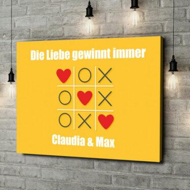Leinwandbild personalisiert Tic Tac Love