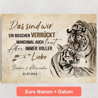 Personalisiertes Leinwandbild Tigerliebe