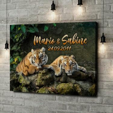 Leinwandbild personalisiert Tigerpaar