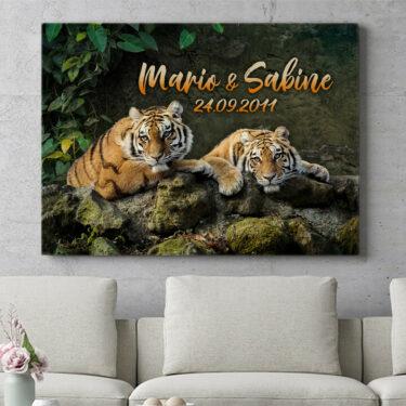 Personalisierbares Geschenk Tigerpaar