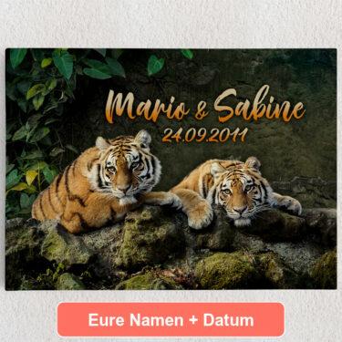 Personalisiertes Leinwandbild Tigerpaar