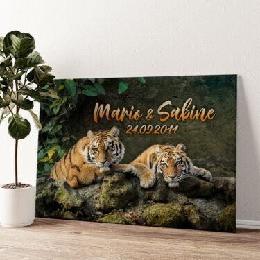 Tigerpaar Wandbild personalisiert