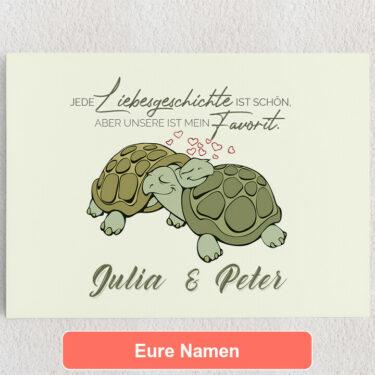 Personalisiertes Leinwandbild Turtle Love
