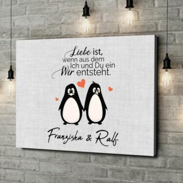 Leinwandbild personalisiert Twosome Penguins