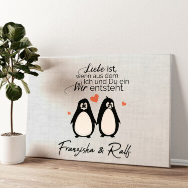 Twosome Penguins Wandbild personalisiert