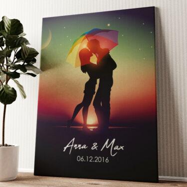 Unter dem Regenschirm Wandbild personalisiert