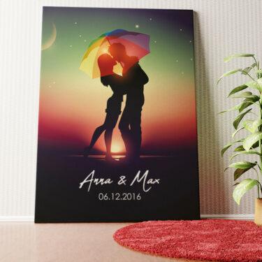 Personalisiertes Wandbild Unter dem Regenschirm