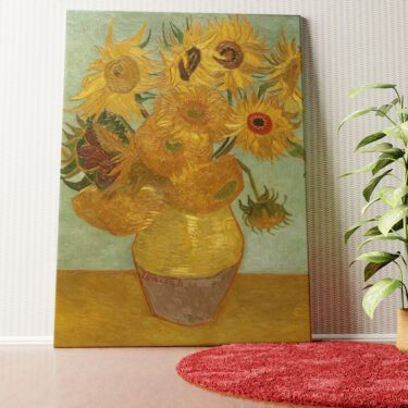 Personalisiertes Wandbild Vase mit Sonnenblumen
