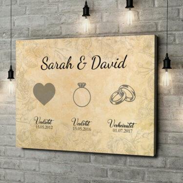 Leinwandbild personalisiert Verliebt Verlobt Verheiratet
