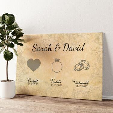 Verliebt Verlobt Verheiratet Wandbild personalisiert