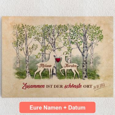 Personalisiertes Leinwandbild Waldromantik