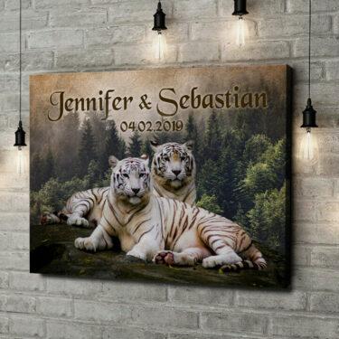 Leinwandbild personalisiert Weiße Tiger