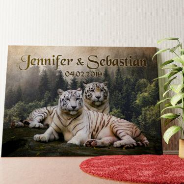 Personalisiertes Wandbild Weiße Tiger