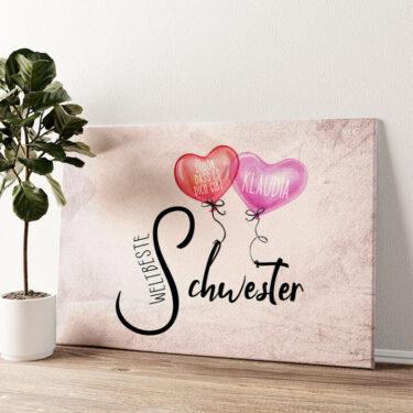 Weltbeste Schwester Wandbild personalisiert