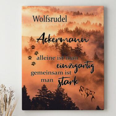Leinwandbild personalisiert Wolfsfamilie