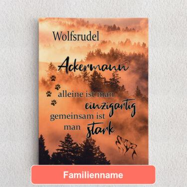 Personalisiertes Leinwandbild Wolfsfamilie