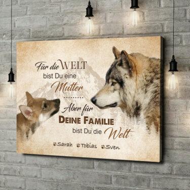 Leinwandbild personalisiert Wolfsmutter