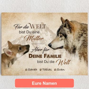 Personalisiertes Leinwandbild Wolfsmutter