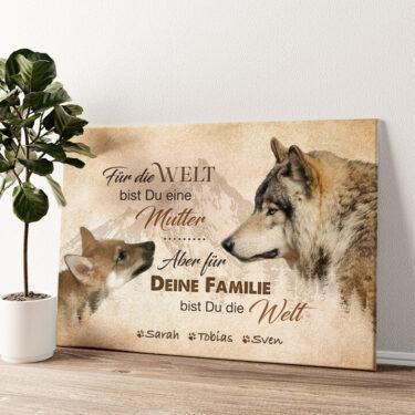 Wolfsmutter Wandbild personalisiert