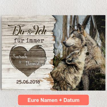 Personalisiertes Leinwandbild Wolfspaar