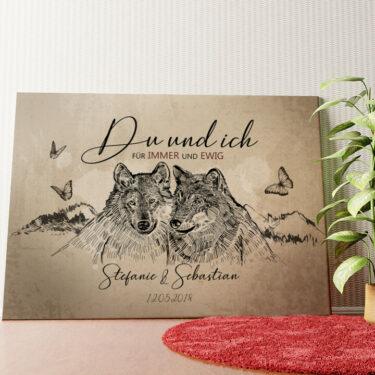 Personalisiertes Wandbild Wolfsromantik