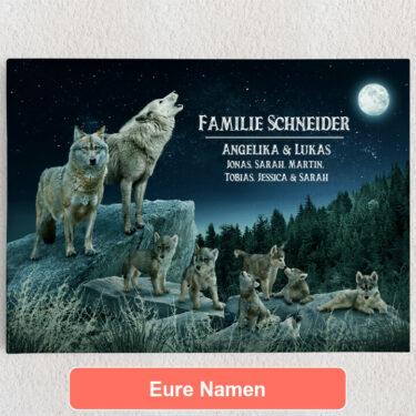 Personalisiertes Leinwandbild Wolfsrudel