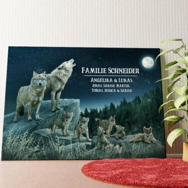 Personalisiertes Wandbild Wolfsrudel