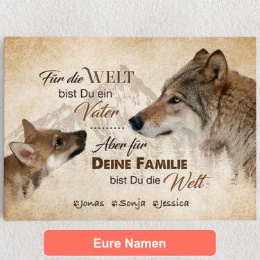 Personalisiertes Leinwandbild Wolfsvater