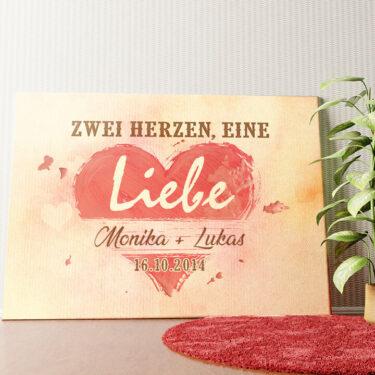 Personalisiertes Wandbild Zwei Herzen eine Liebe