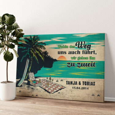 Picknick am Strand Wandbild personalisiert