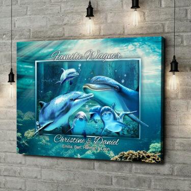 Leinwandbild personalisiert Delfinfamilie