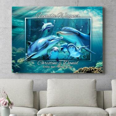 Personalisierbares Geschenk Delfinfamilie