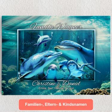 Personalisiertes Leinwandbild Delfinfamilie