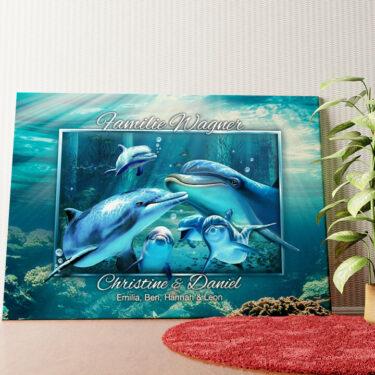 Personalisiertes Wandbild Delfinfamilie