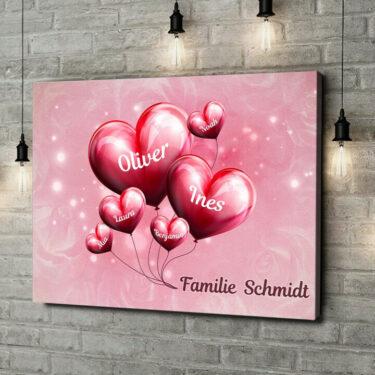 Leinwandbild personalisiert Familie mit Herz