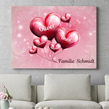 Personalisierbares Geschenk Familie mit Herz