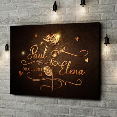 Leinwandbild personalisiert Goldene Rose