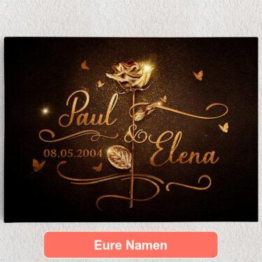 Personalisiertes Leinwandbild Goldene Rose