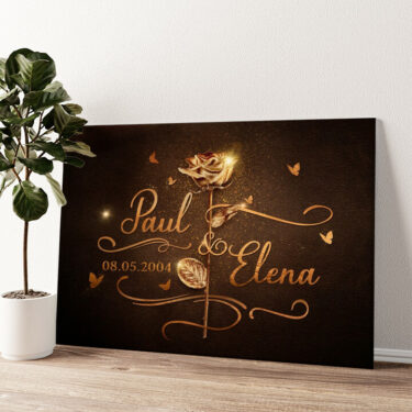 Goldene Rose Wandbild personalisiert