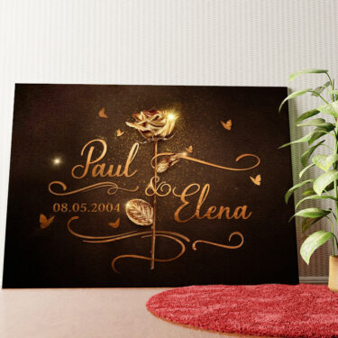 Personalisiertes Wandbild Goldene Rose