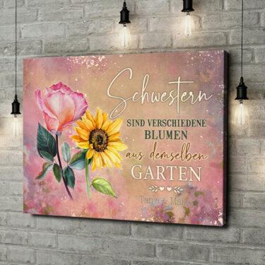 Leinwandbild personalisiert Blumenschwestern