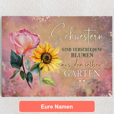 Personalisiertes Leinwandbild Blumenschwestern